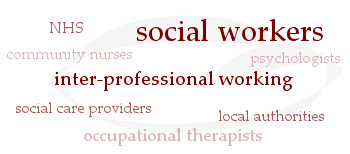 Social work inter-professional working: social workers, NHS, community nurses, psychologists, social care providers, local authorities, occupational therapists