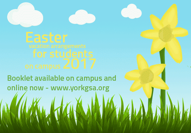 Easter vacation arrangements for students on campus 2017. Booklet available on campus and online now - www.gsa.org