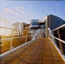 Looking towards the Library across the bridge from Alcuin College