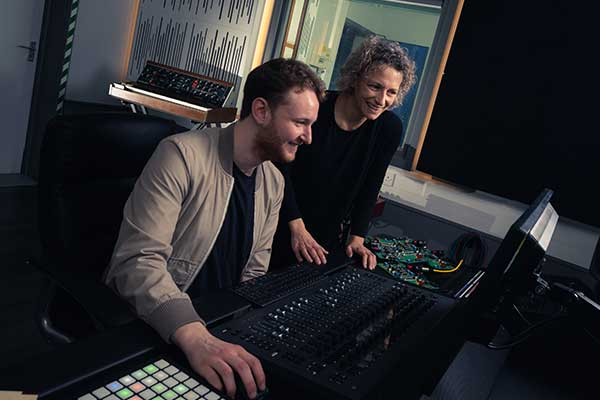 A Music Technology student with Dr Jude Brereton, a tutor in the Department.