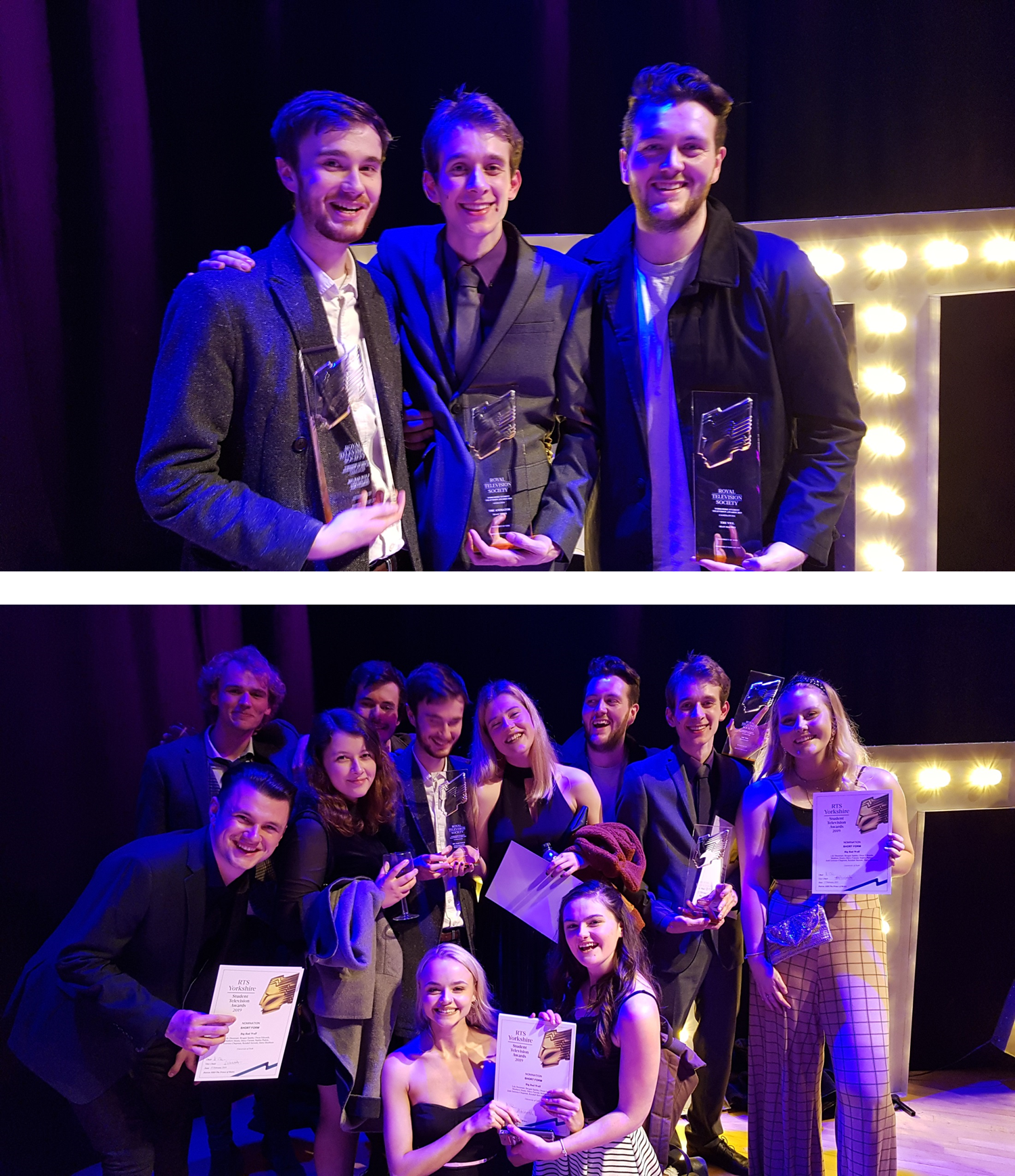 Our three winners (L-R) Owen Edwards: Craft Award for Camerawork on Big Bad Wolf.