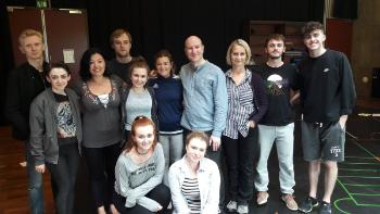 A photograph of the participants from a workshop at the Lyric Theatre in Belfast. Photo Credit: Philip Crawford.