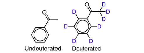 deuterated and undeuterated versions of acetophenone